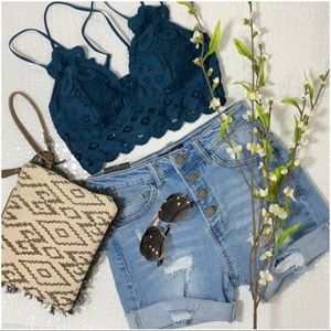 ✨RESTOCKED✨ Lace Bralette with padding-Teal